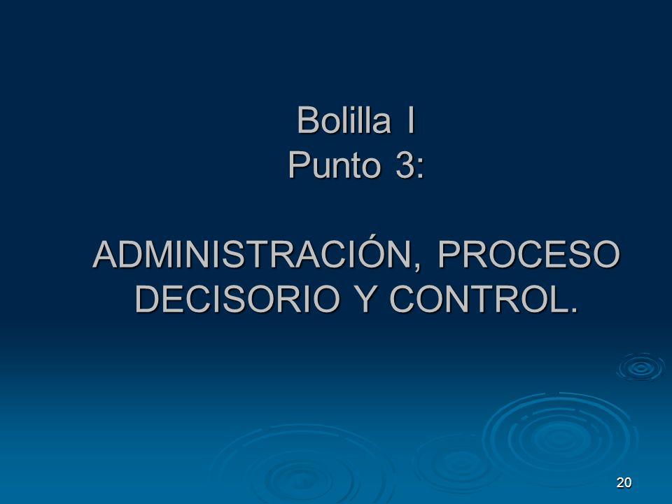 Bolilla I Punto 3: ADMINISTRACIÓN, PROCESO DECISORIO Y CONTROL.