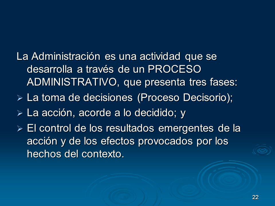La Administración es una actividad que se desarrolla a través de un PROCESO ADMINISTRATIVO, que presenta tres fases: