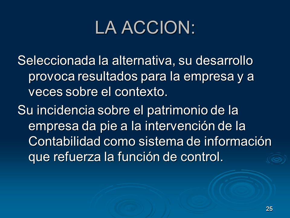 LA ACCION: Seleccionada la alternativa, su desarrollo provoca resultados para la empresa y a veces sobre el contexto.