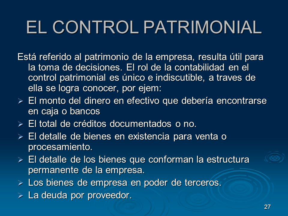 EL CONTROL PATRIMONIAL