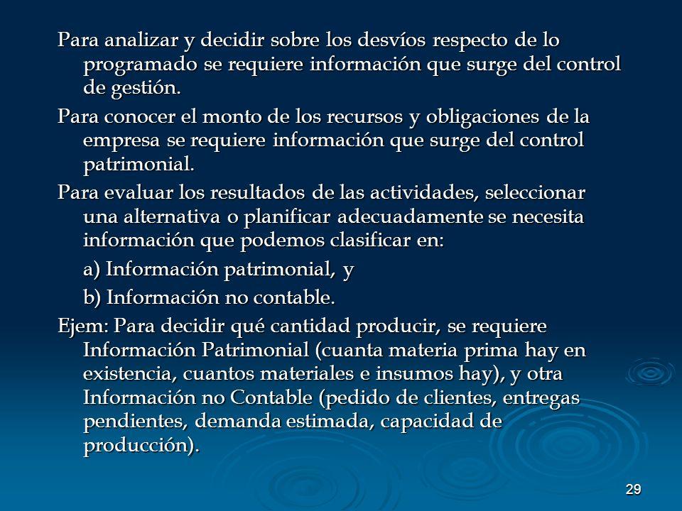 Para analizar y decidir sobre los desvíos respecto de lo programado se requiere información que surge del control de gestión.