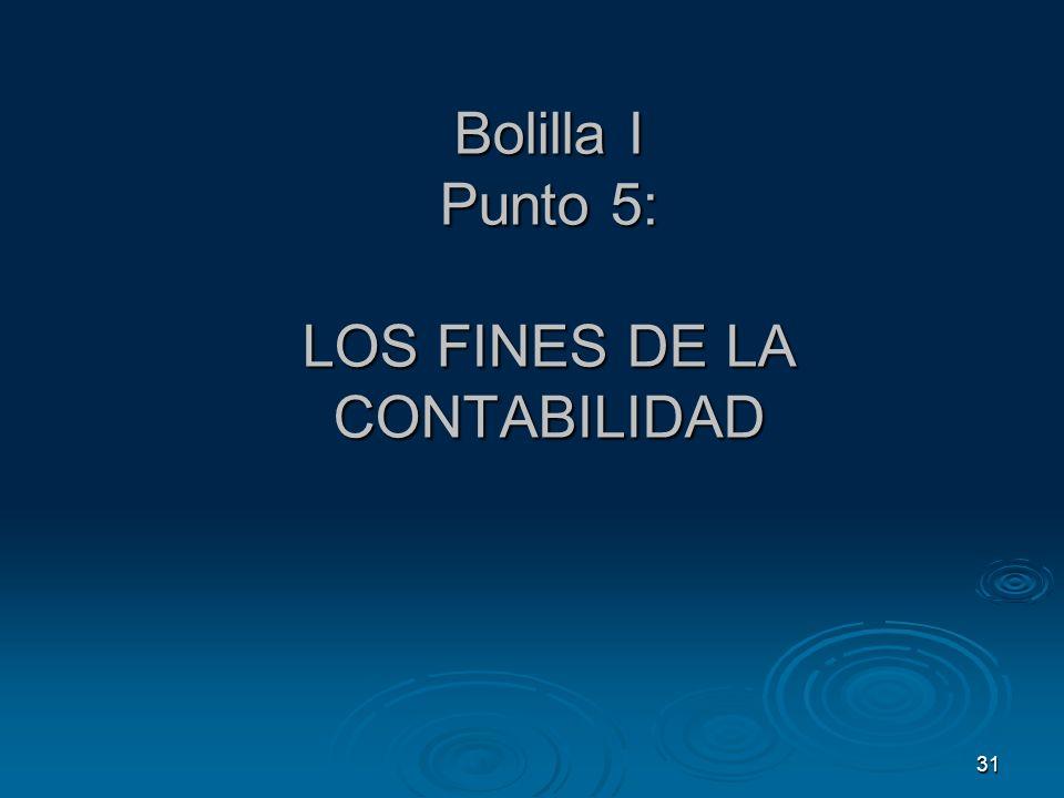 Bolilla I Punto 5: LOS FINES DE LA CONTABILIDAD