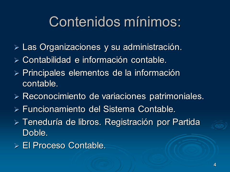 Contenidos mínimos: Las Organizaciones y su administración.