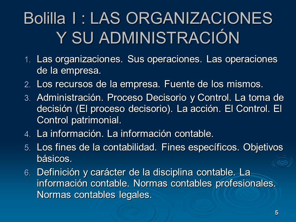 Bolilla I : LAS ORGANIZACIONES Y SU ADMINISTRACIÓN