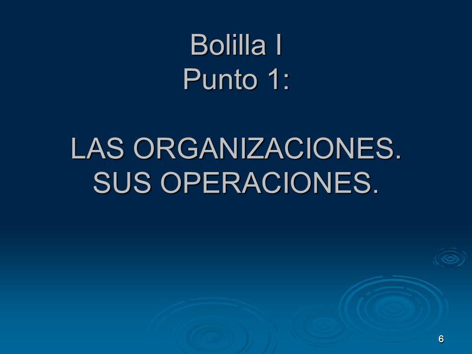 Bolilla I Punto 1: LAS ORGANIZACIONES. SUS OPERACIONES.