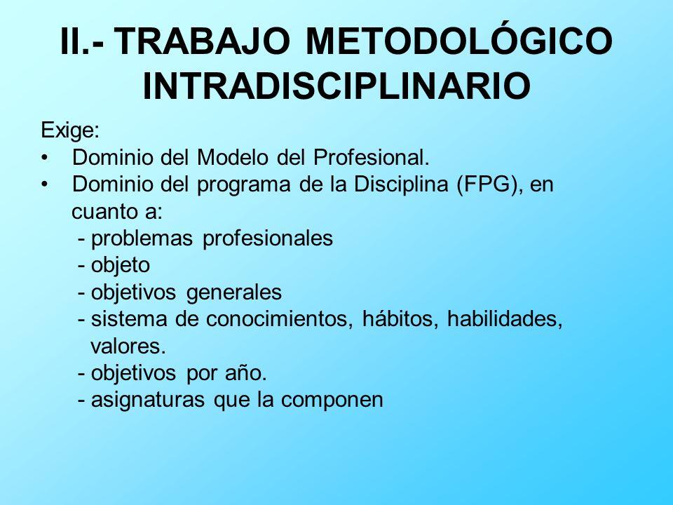 II.- TRABAJO METODOLÓGICO INTRADISCIPLINARIO