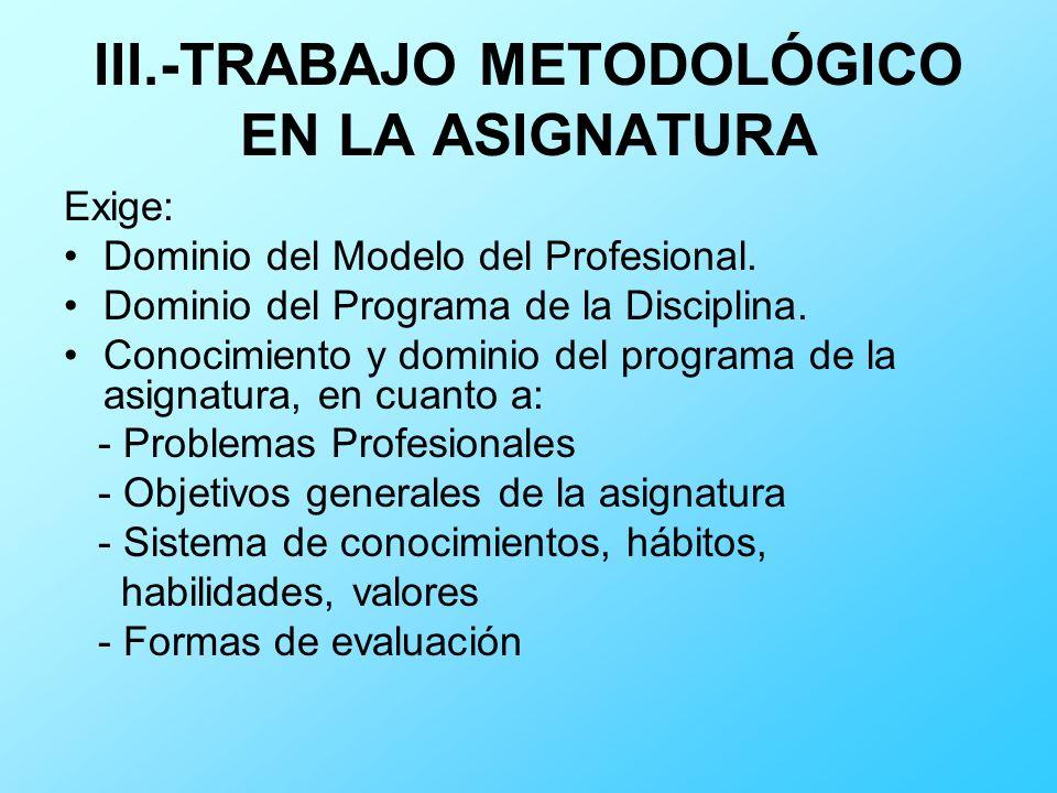 III.-TRABAJO METODOLÓGICO EN LA ASIGNATURA