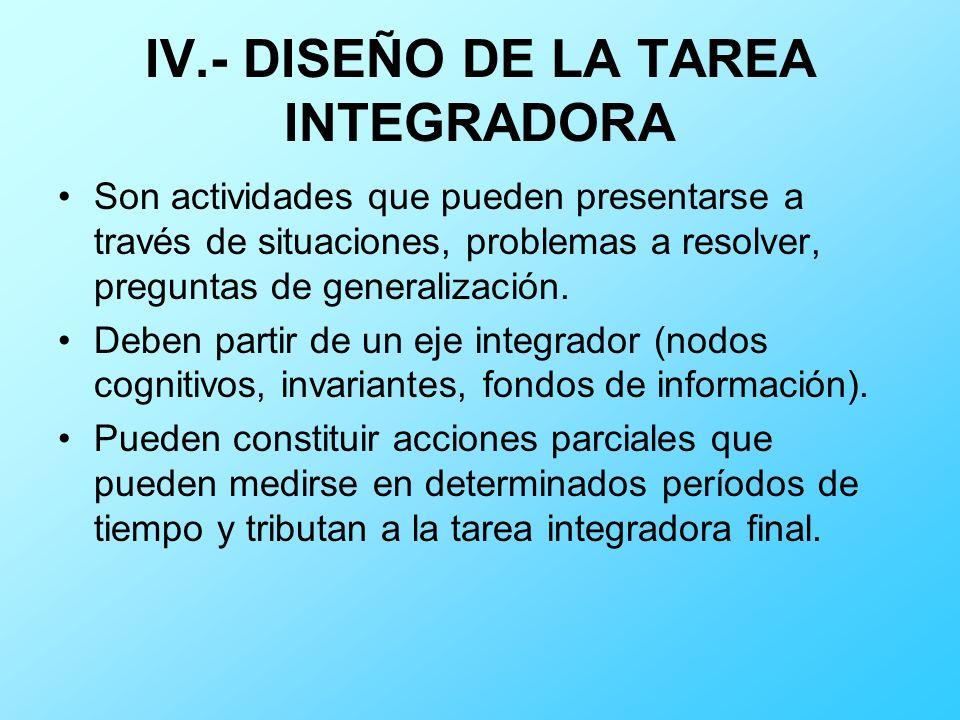IV.- DISEÑO DE LA TAREA INTEGRADORA