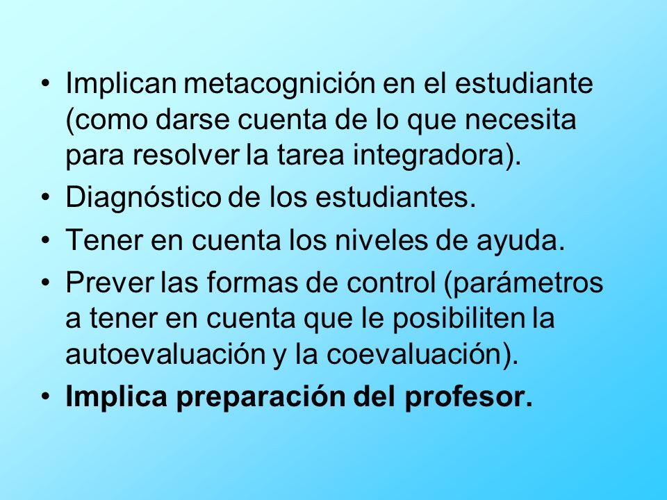 Implican metacognición en el estudiante (como darse cuenta de lo que necesita para resolver la tarea integradora).