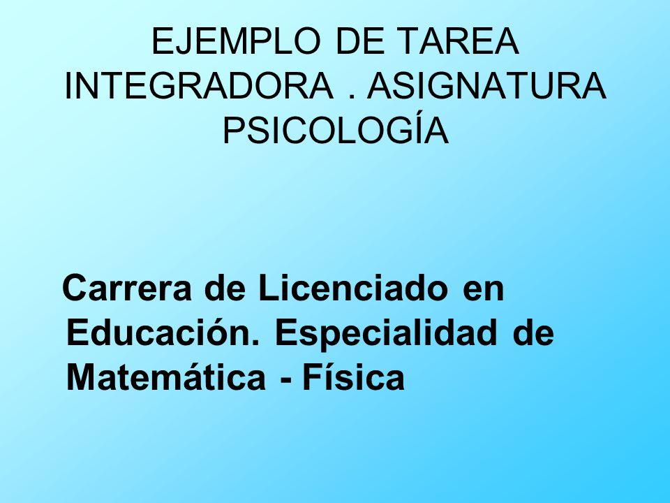 EJEMPLO DE TAREA INTEGRADORA . ASIGNATURA PSICOLOGÍA