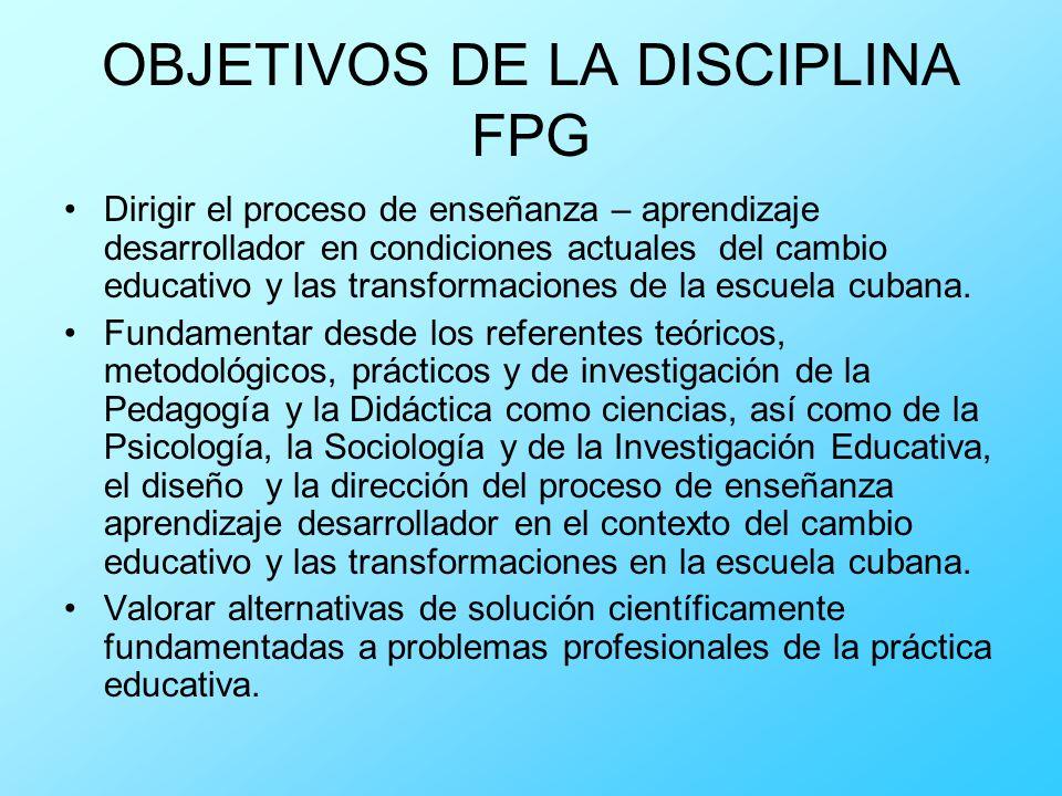 OBJETIVOS DE LA DISCIPLINA FPG