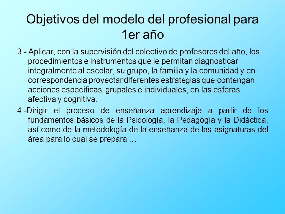 Objetivos del modelo del profesional para 1er año
