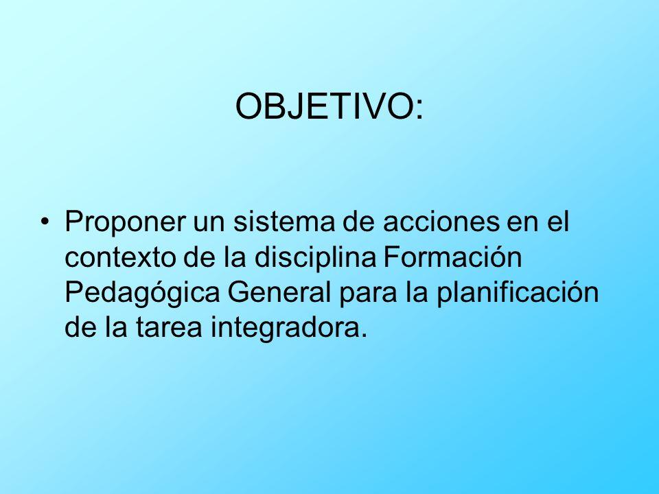 OBJETIVO: Proponer un sistema de acciones en el contexto de la disciplina Formación Pedagógica General para la planificación de la tarea integradora.