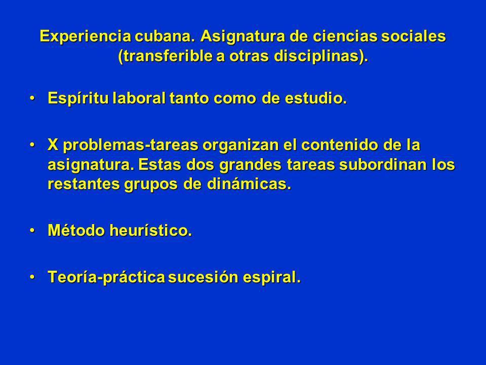Experiencia cubana. Asignatura de ciencias sociales (transferible a otras disciplinas).