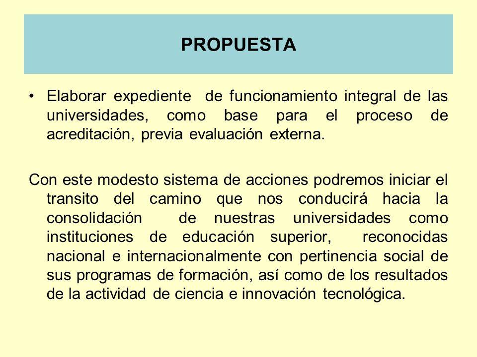 PROPUESTAElaborar expediente de funcionamiento integral de las universidades, como base para el proceso de acreditación, previa evaluación externa.