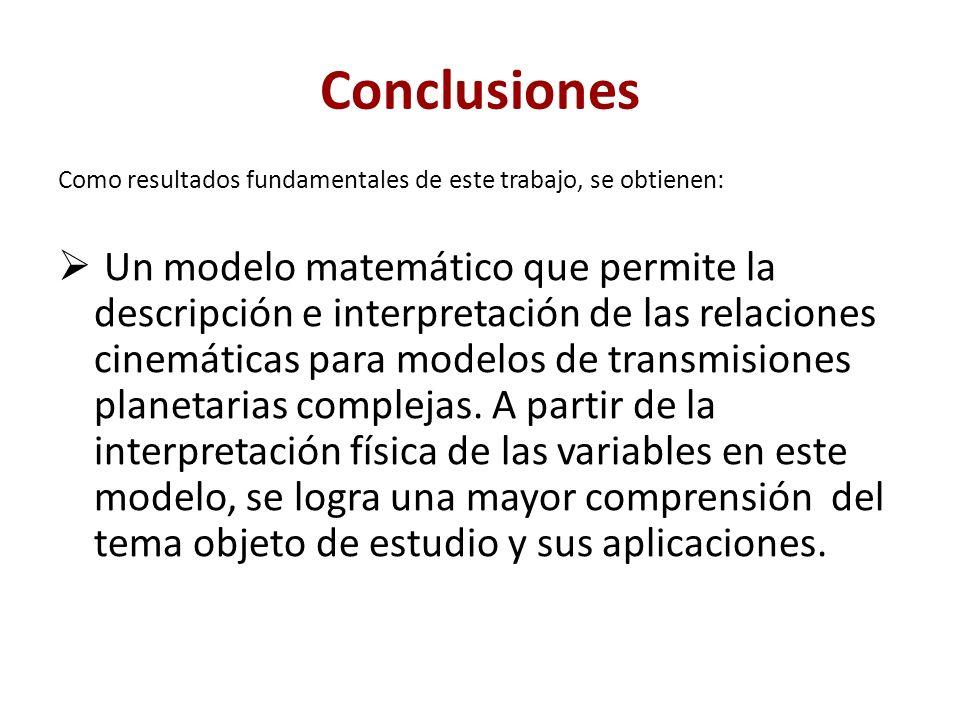Conclusiones Como resultados fundamentales de este trabajo, se obtienen: