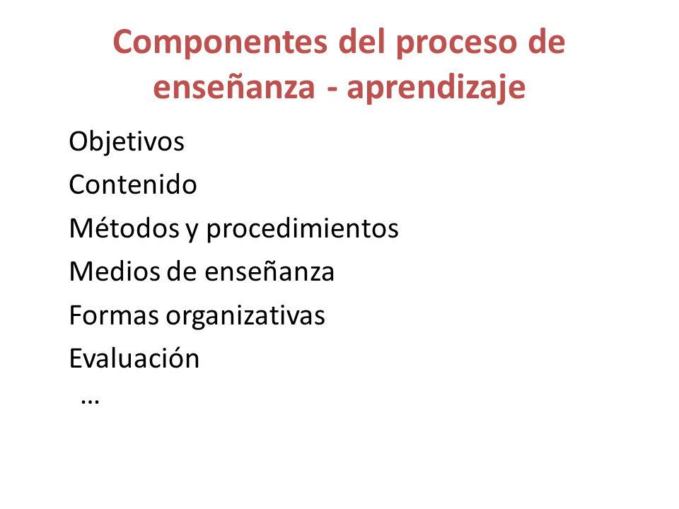 Componentes del proceso de enseñanza - aprendizaje