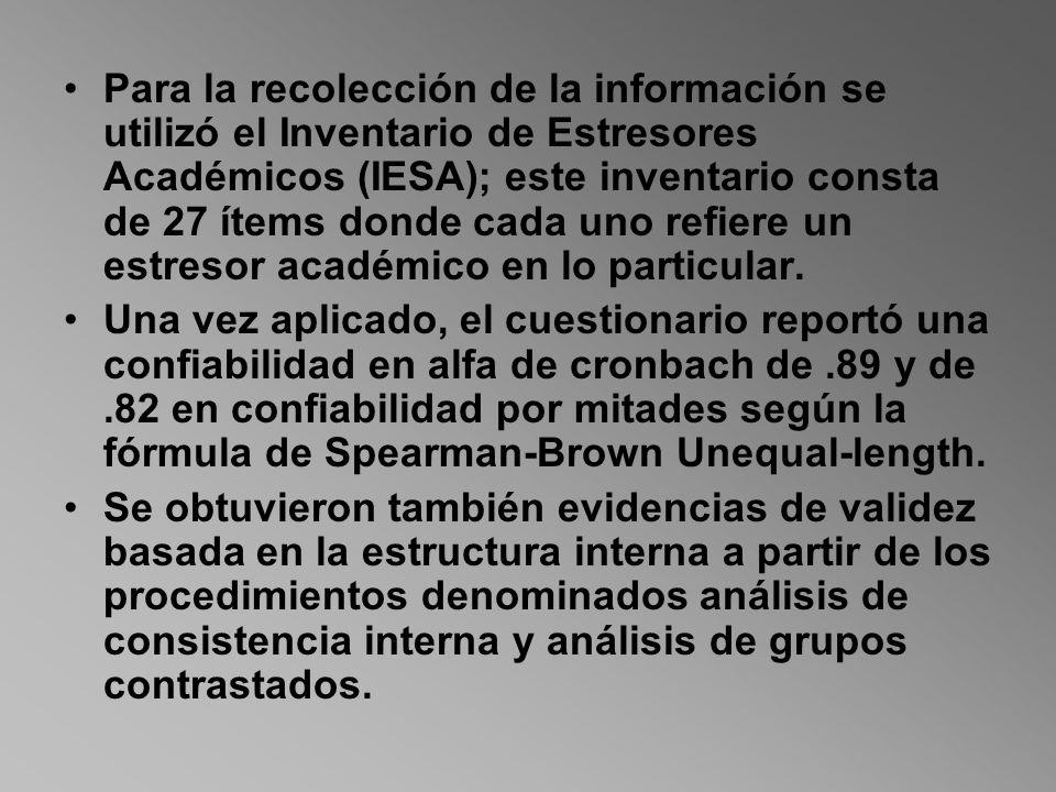 Para la recolección de la información se utilizó el Inventario de Estresores Académicos (IESA); este inventario consta de 27 ítems donde cada uno refiere un estresor académico en lo particular.