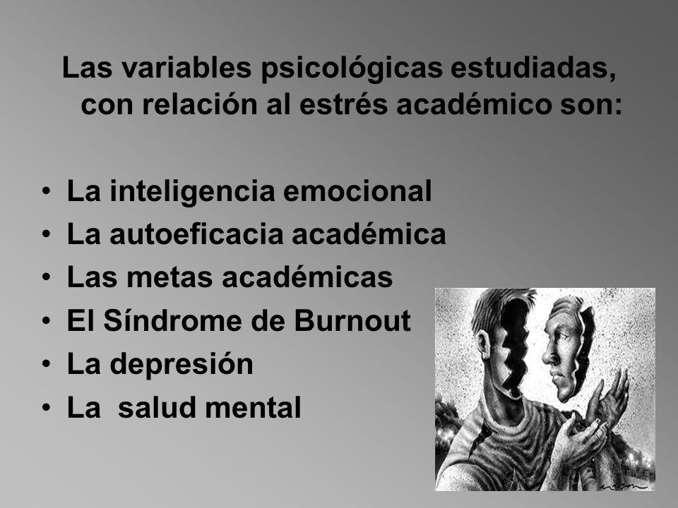 Las variables psicológicas estudiadas, con relación al estrés académico son:
