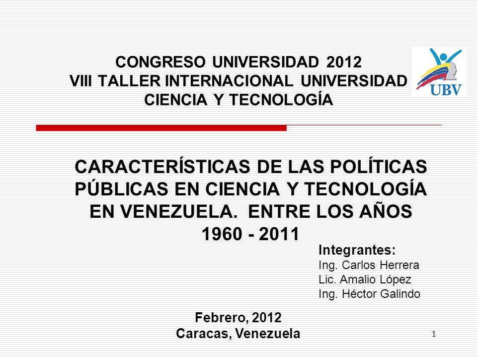 CONGRESO UNIVERSIDAD 2012 VIII TALLER INTERNACIONAL UNIVERSIDAD CIENCIA Y TECNOLOGÍA