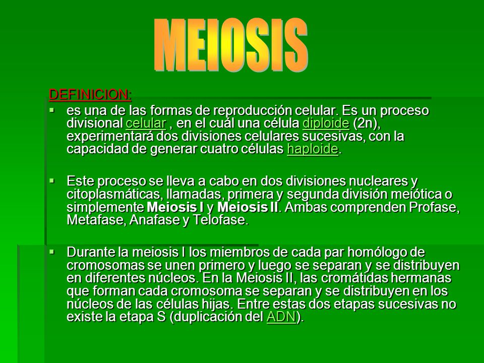 MEIOSIS DEFINICION: