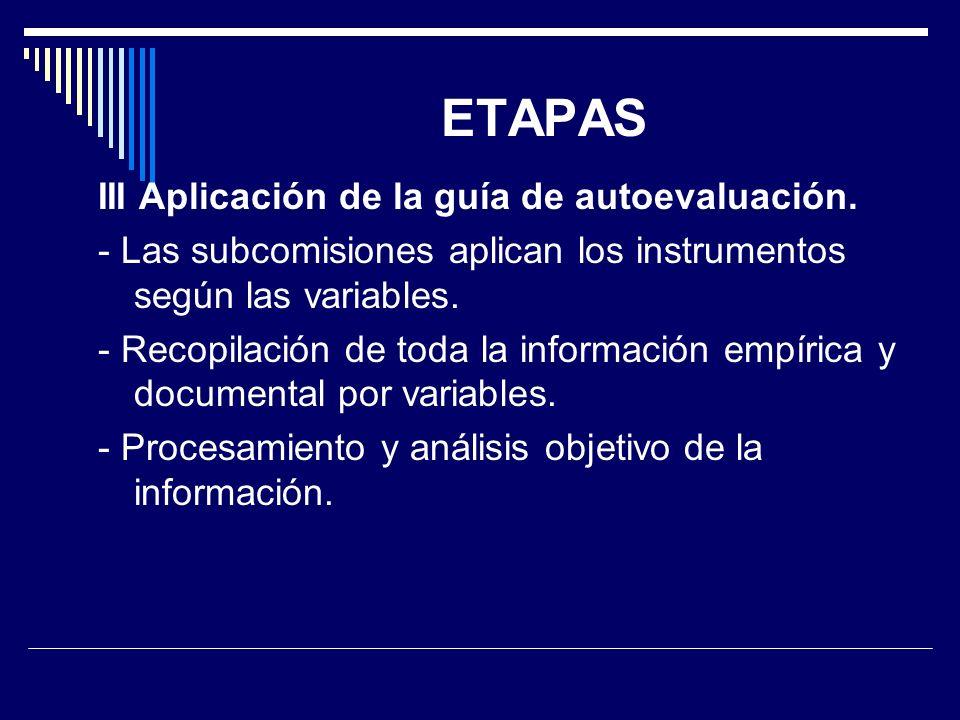 ETAPAS III Aplicación de la guía de autoevaluación.