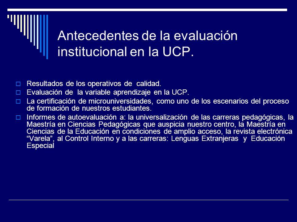 Antecedentes de la evaluación institucional en la UCP.