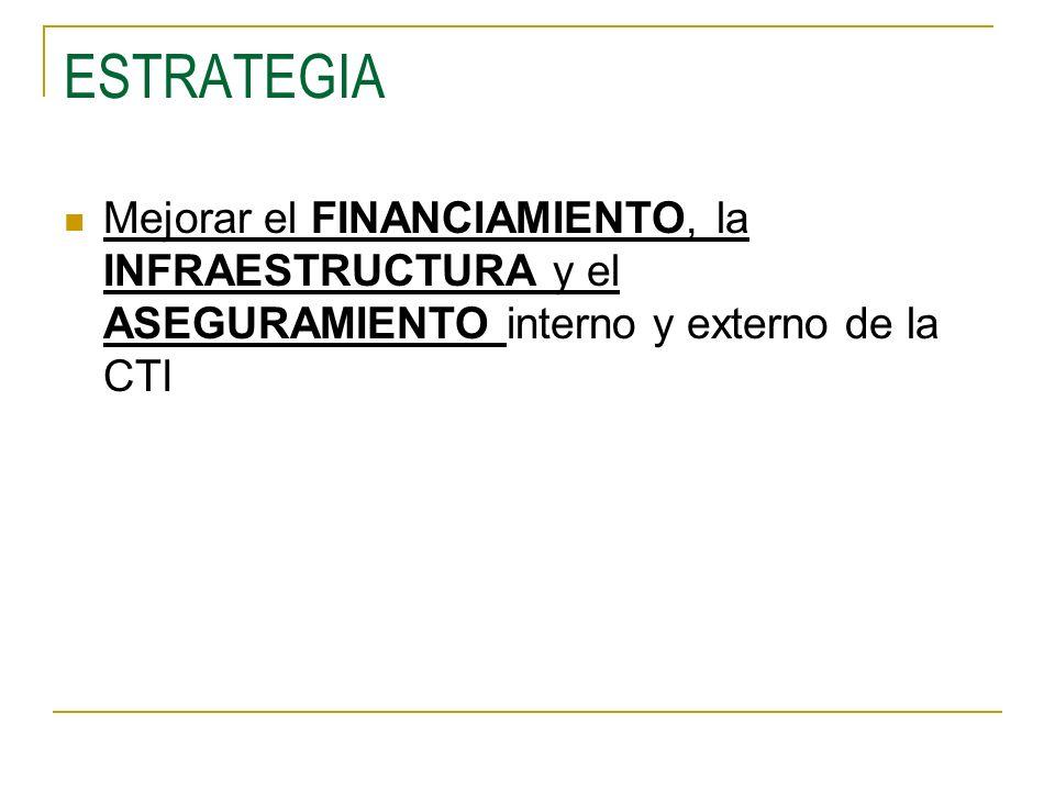 ESTRATEGIA Mejorar el FINANCIAMIENTO, la INFRAESTRUCTURA y el ASEGURAMIENTO interno y externo de la CTI.