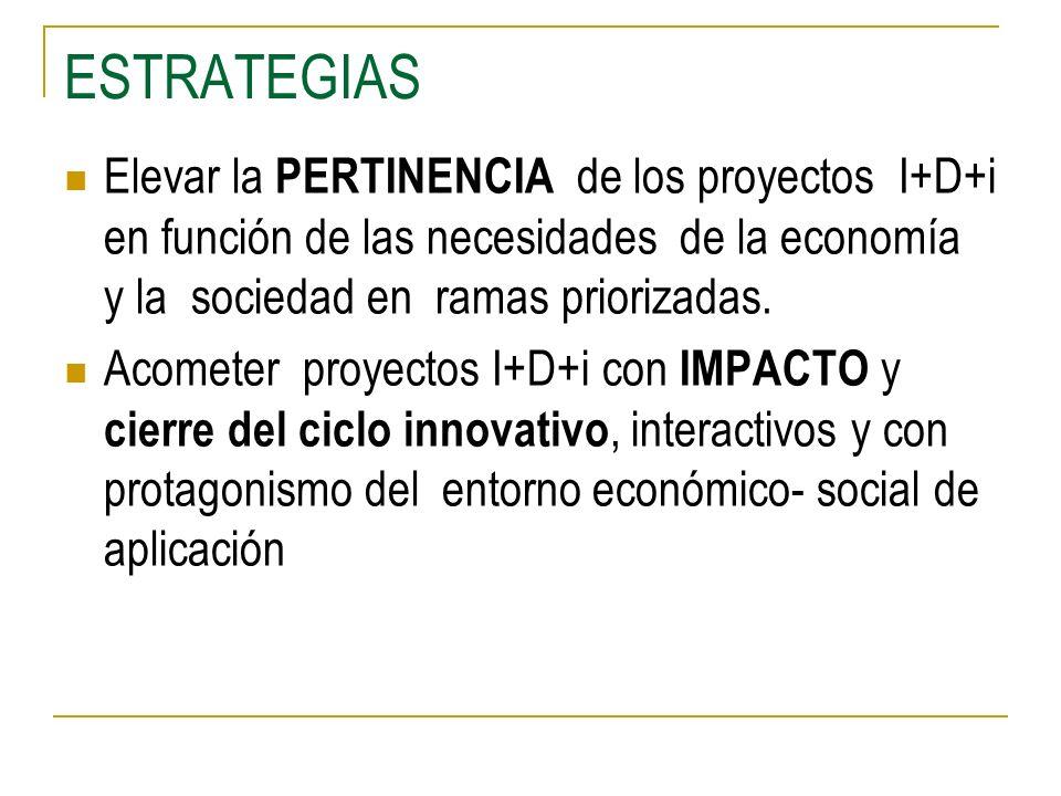 ESTRATEGIAS Elevar la PERTINENCIA de los proyectos I+D+i en función de las necesidades de la economía y la sociedad en ramas priorizadas.