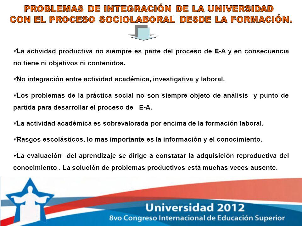 PROBLEMAS DE INTEGRACIÓN DE LA UNIVERSIDAD