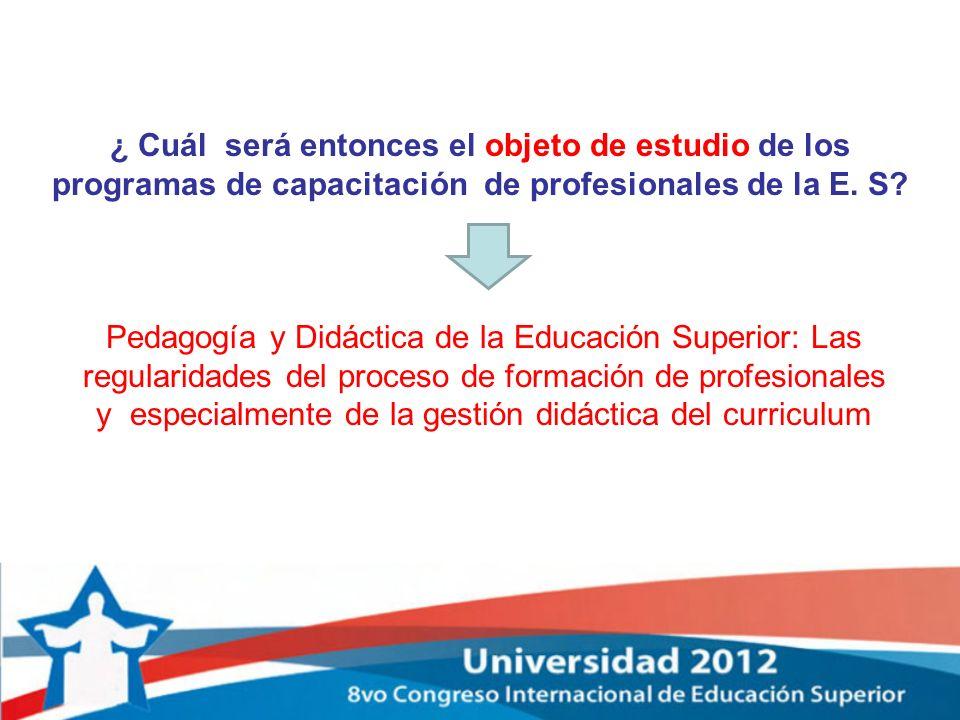 ¿ Cuál será entonces el objeto de estudio de los programas de capacitación de profesionales de la E. S