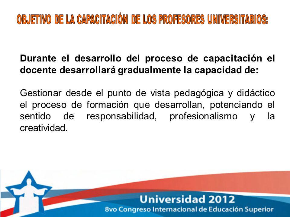 OBJETIVO DE LA CAPACITACIÓN DE LOS PROFESORES UNIVERSITARIOS: