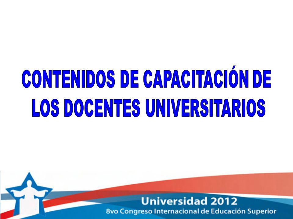 CONTENIDOS DE CAPACITACIÓN DE LOS DOCENTES UNIVERSITARIOS