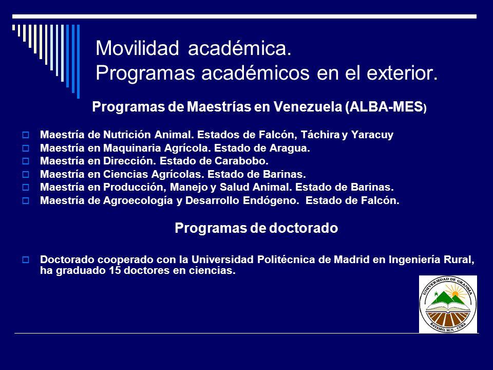 Movilidad académica. Programas académicos en el exterior.