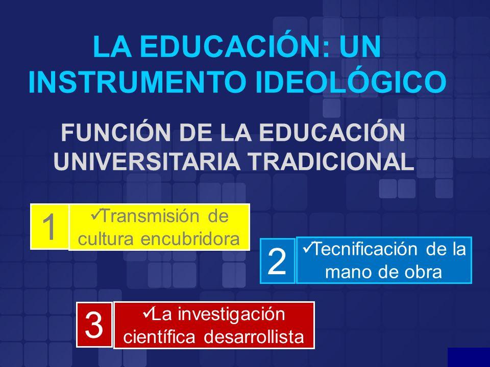 1 2 3 LA EDUCACIÓN: UN INSTRUMENTO IDEOLÓGICO