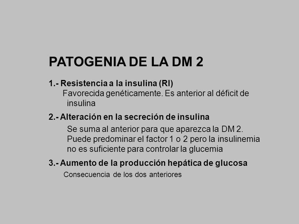 PATOGENIA DE LA DM 2 1.- Resistencia a la insulina (RI)