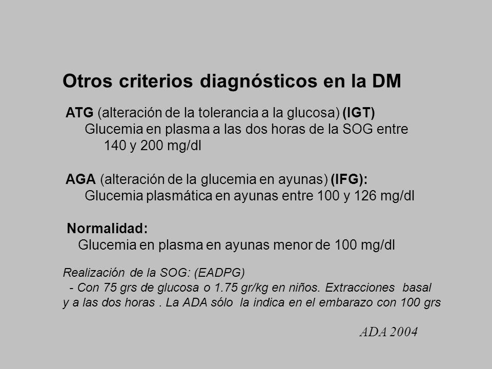 Otros criterios diagnósticos en la DM