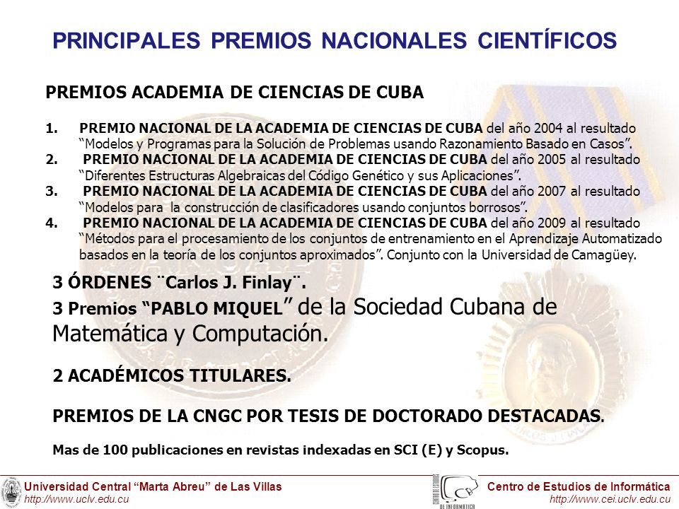 PRINCIPALES PREMIOS NACIONALES CIENTÍFICOS