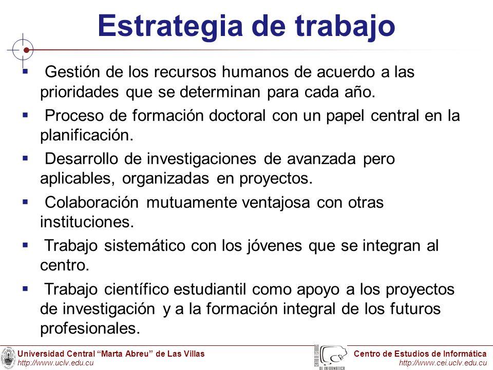 Estrategia de trabajo Gestión de los recursos humanos de acuerdo a las prioridades que se determinan para cada año.