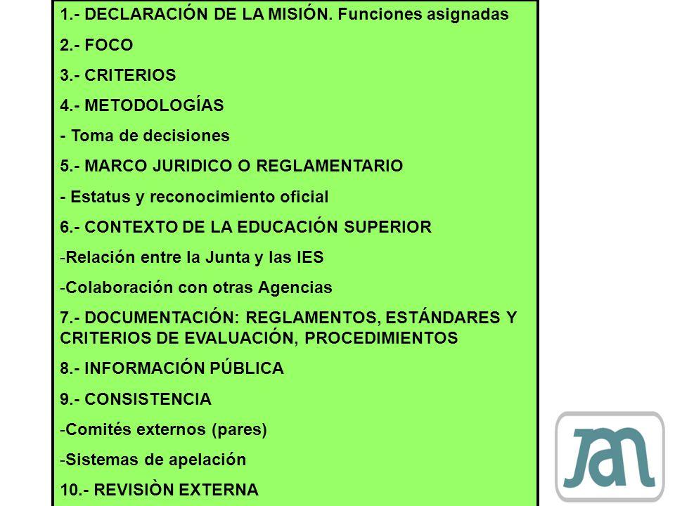 1.- DECLARACIÓN DE LA MISIÓN. Funciones asignadas