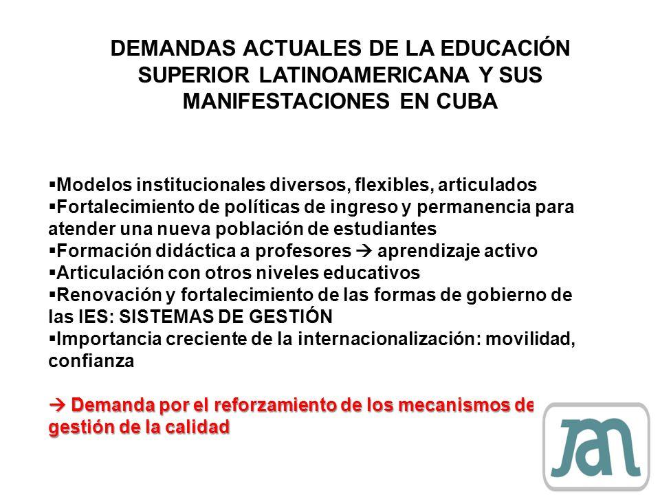 DEMANDAS ACTUALES DE LA EDUCACIÓN SUPERIOR LATINOAMERICANA Y SUS MANIFESTACIONES EN CUBA