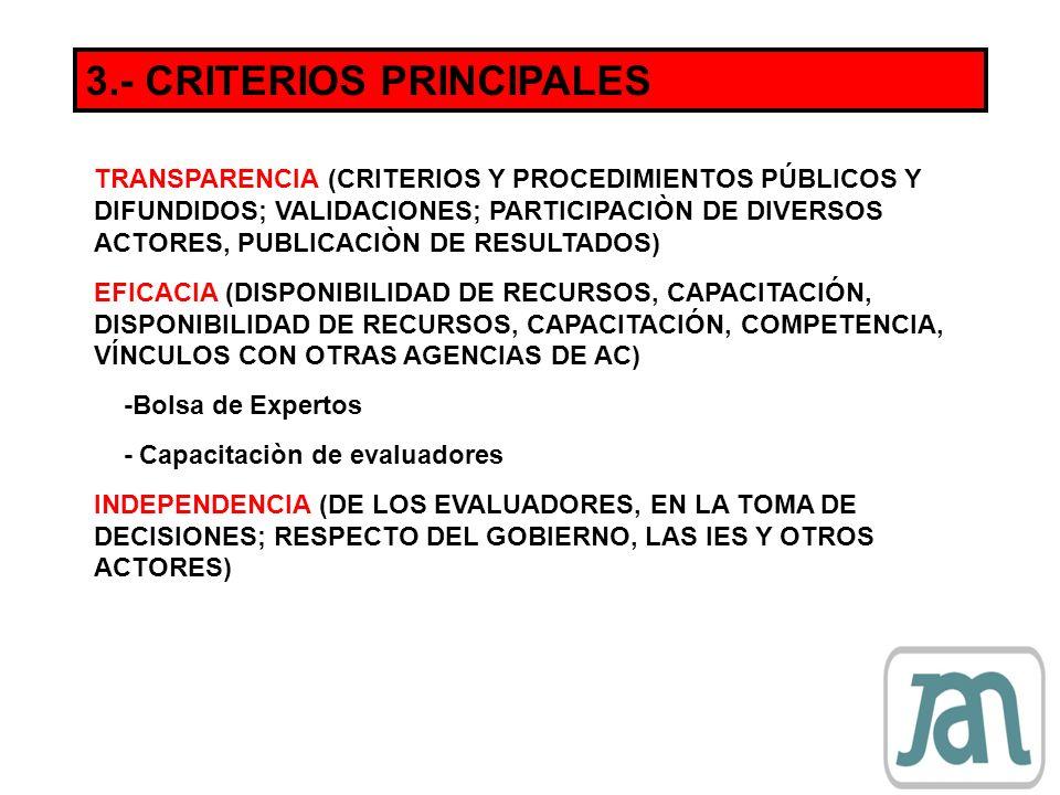 3.- CRITERIOS PRINCIPALES