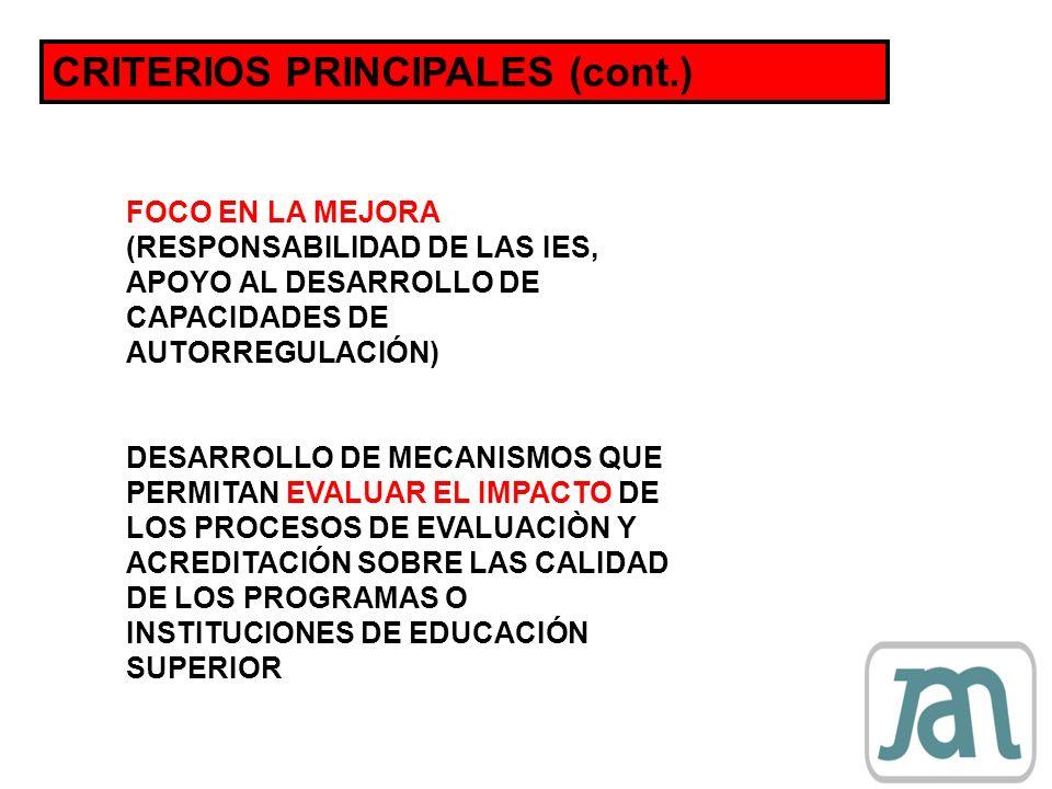 CRITERIOS PRINCIPALES (cont.)
