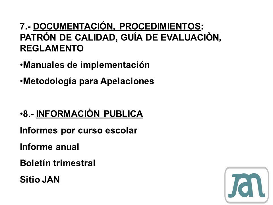 7.- DOCUMENTACIÓN, PROCEDIMIENTOS: PATRÓN DE CALIDAD, GUÍA DE EVALUACIÒN, REGLAMENTO