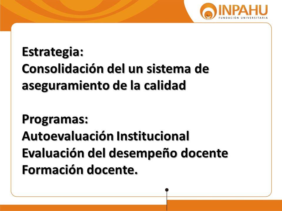 Estrategia: Consolidación del un sistema de aseguramiento de la calidad Programas: Autoevaluación Institucional Evaluación del desempeño docente Formación docente.