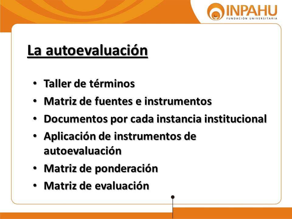 La autoevaluación Taller de términos Matriz de fuentes e instrumentos