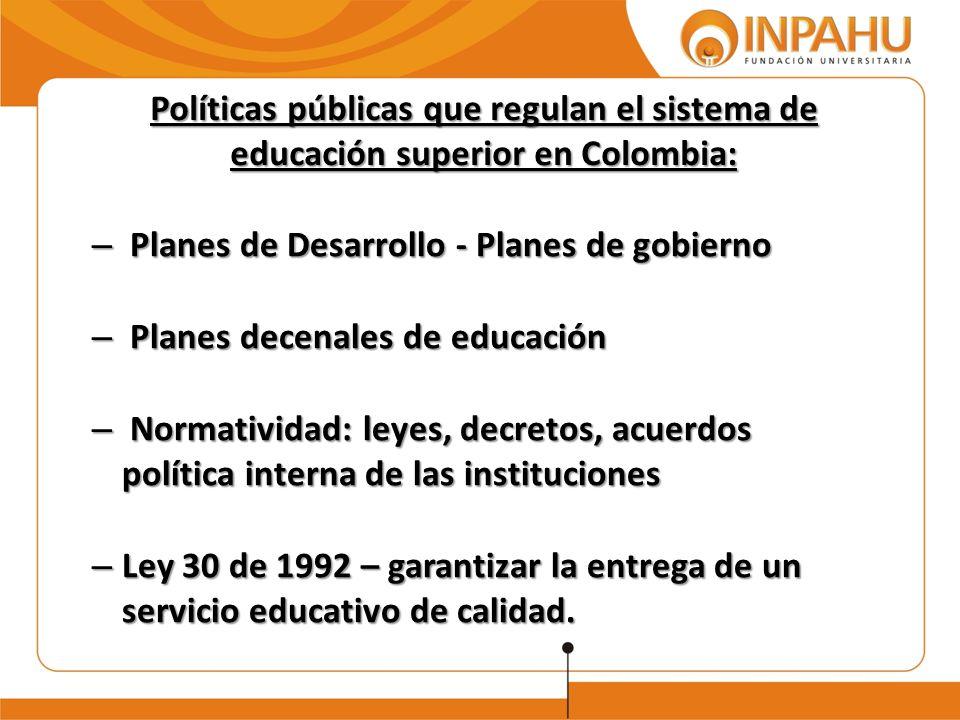Políticas públicas que regulan el sistema de educación superior en Colombia: