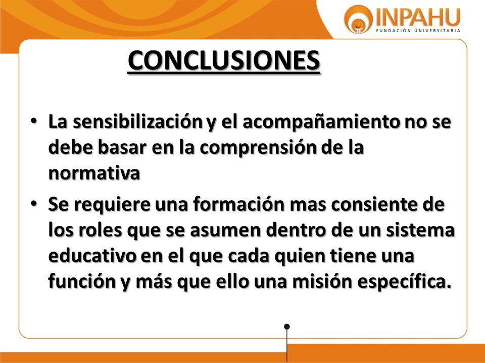 CONCLUSIONES La sensibilización y el acompañamiento no se debe basar en la comprensión de la normativa.