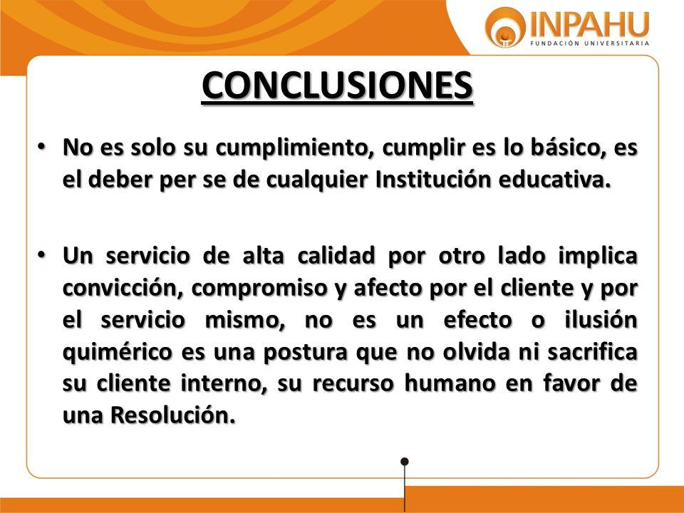 CONCLUSIONES No es solo su cumplimiento, cumplir es lo básico, es el deber per se de cualquier Institución educativa.