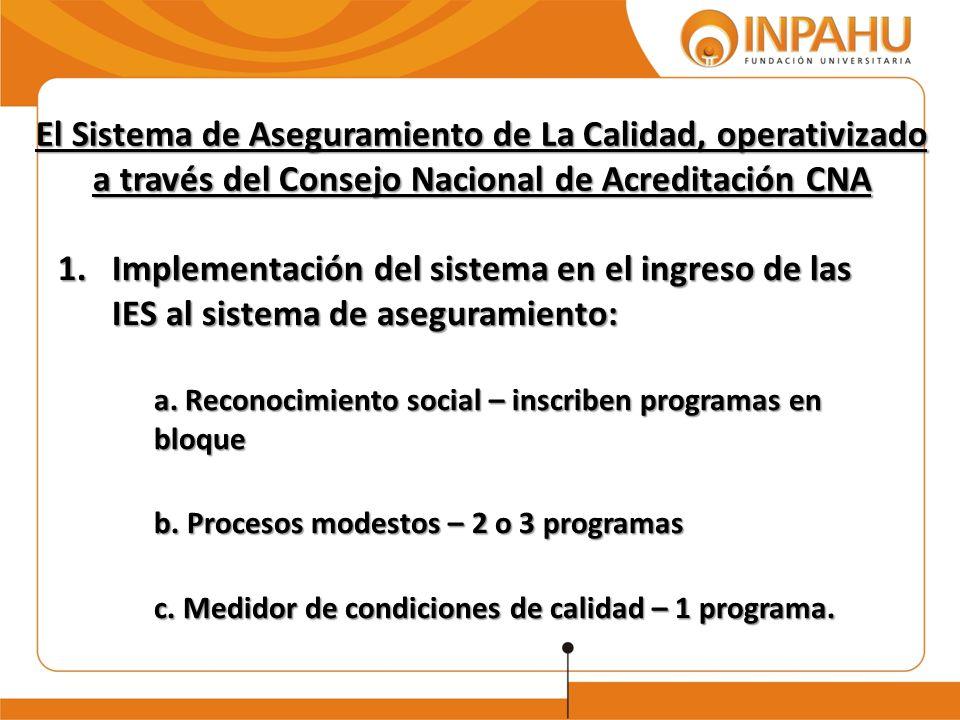 El Sistema de Aseguramiento de La Calidad, operativizado a través del Consejo Nacional de Acreditación CNA